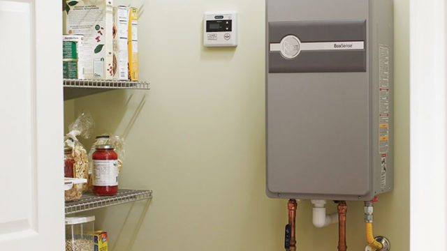 tankless water heater in pantry