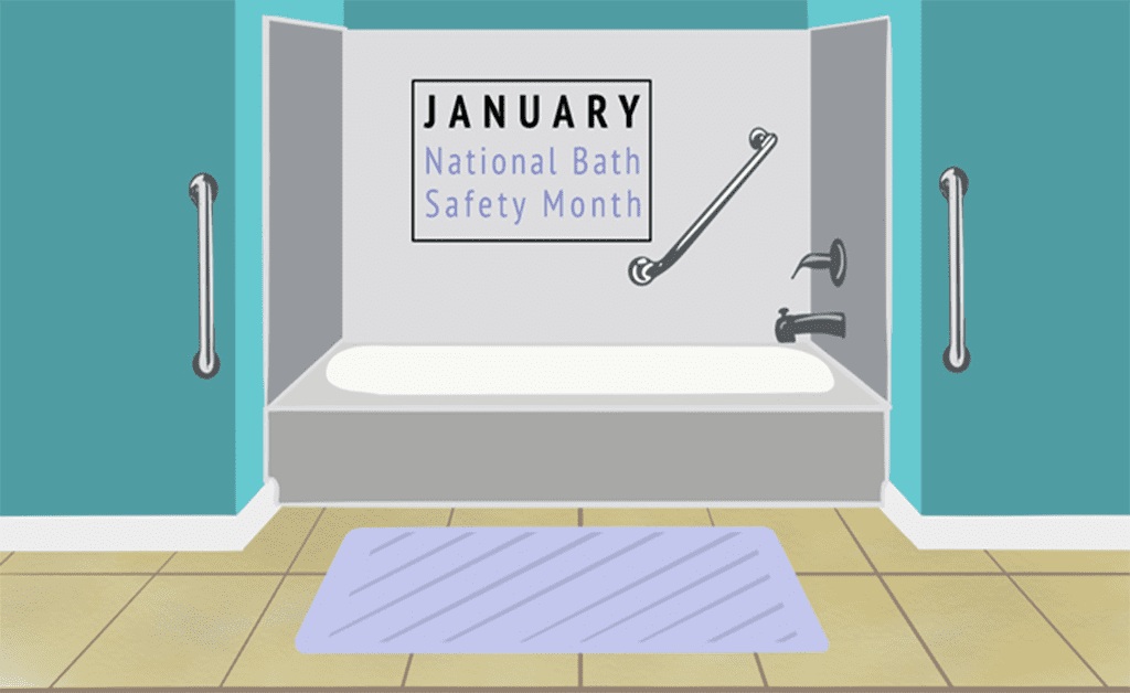 National Bath Safety Month graphic of a safe bathtub.